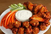 Hot Buffalo Wings and Blue Cheese Dressing